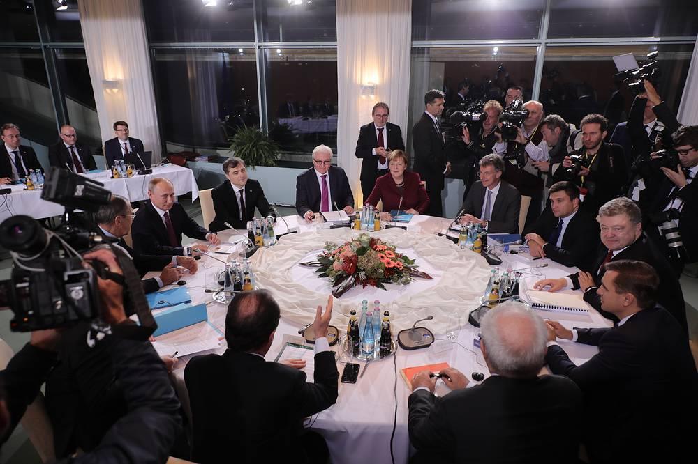 German Chancellor Angela Merkel, German Foreign Minister Frank-Walter Steinmeier, President of Russia Vladimir Putin, French President Francois Hollande and Ukraine President Petro Poroschenko in Berlin, Germany, 19 October