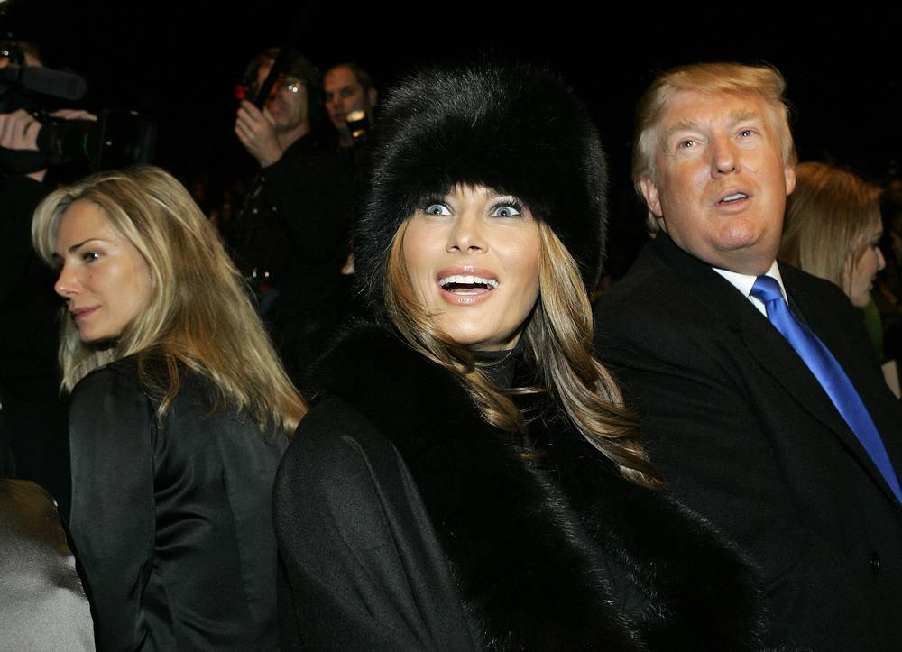 Melania and Donald Trump sit in the front row before the presentation of Michael Kors' fall 2007 collection at Fashion Week in New York