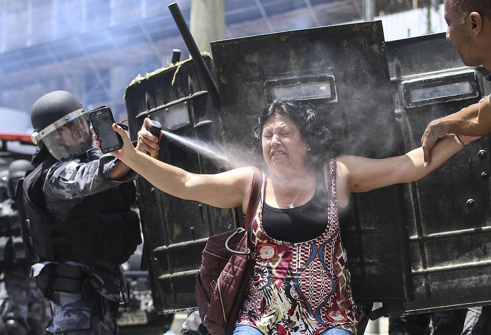A protest against the Government's austerity measures for public officials at the headquarter of Legislative Assembly in Rio de Janeiro, Brazil, November 16