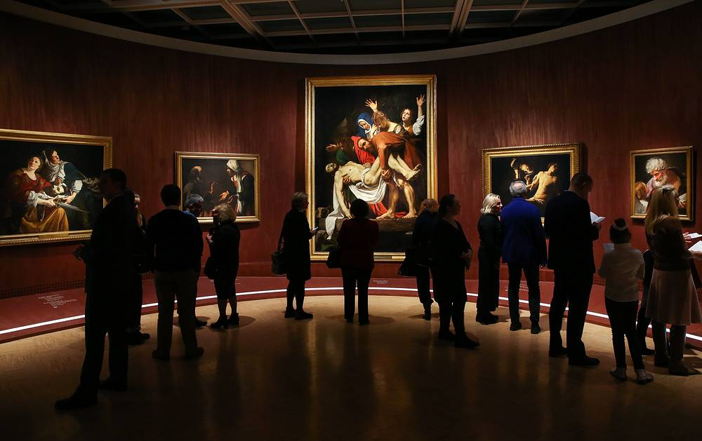 """Roma Aeterna. Masterpieces of the Vatican Pinacotheca. Bellini, Raphael, Caravaggio"" exhibition in the State Tretyakov gallery, Russia, November 21"