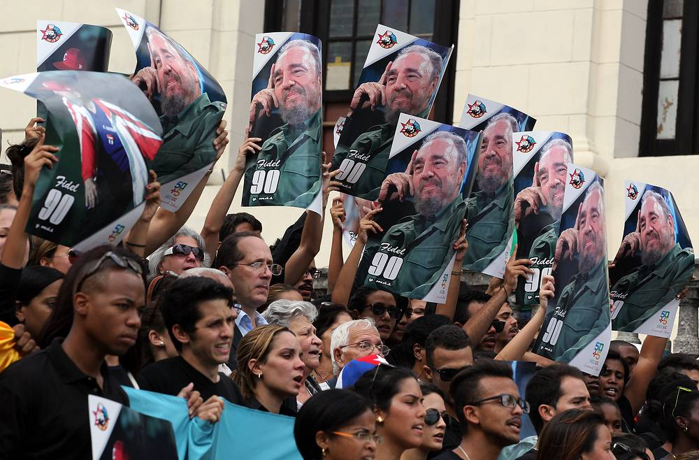 Hundreds of young Cubans gather at Havana University to remember Cuban leader Fidel Castro