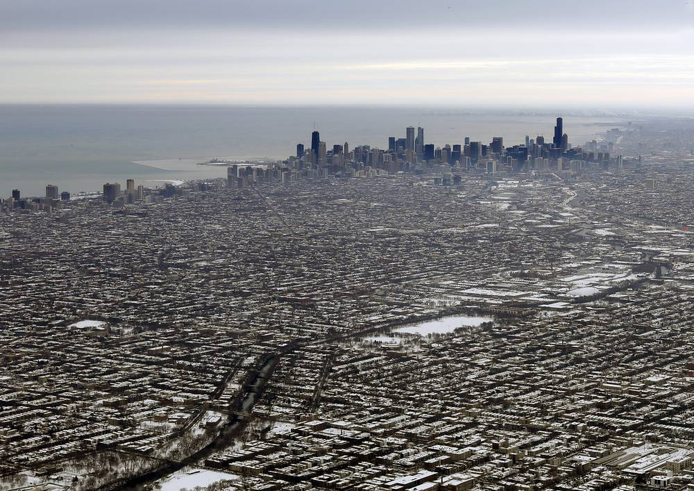 A general view of downtown Chicago is seen from the air heading south east over Chicago, USA, December 21