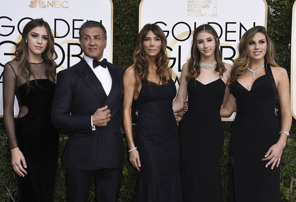 Sylvester Stallone with his wife Jennifer Flavin and daughters, Sistene, Scarlet and Sophia Stallone
