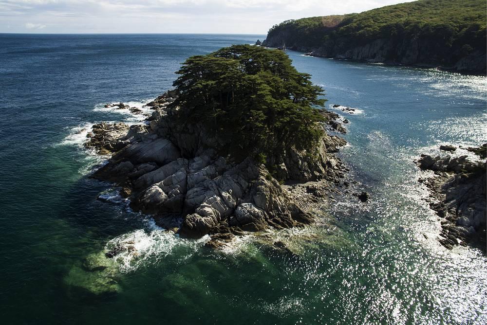 A view of Yearning Heart Island in Telyakovsky Bay in Far East Marine Reserve