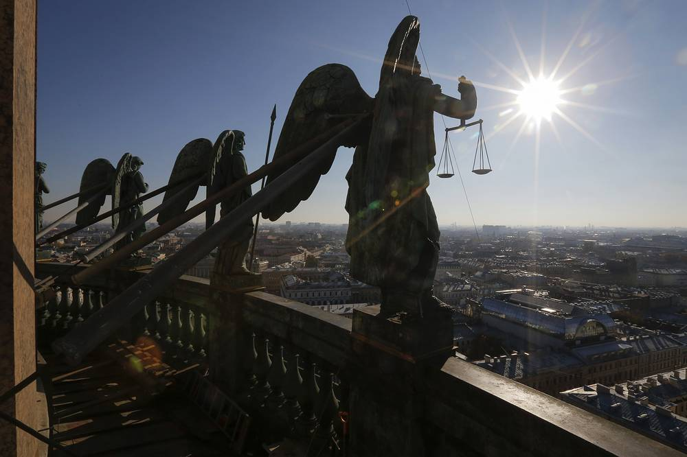 The cathedral is dedicated to Saint Isaac of Dalmatia, a patron saint of Peter the Great. Photo: Sculptures of angels on the 'Angel balustrade' at St. Isaac's Cathedral