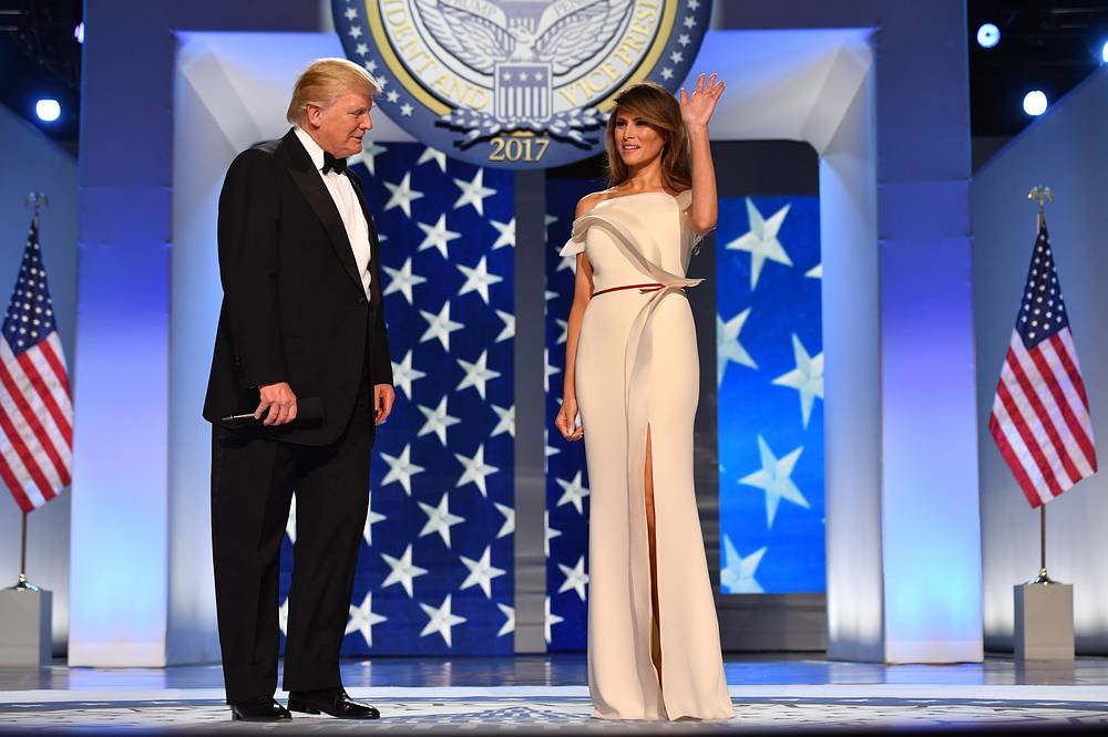 45th US President Donald J. Trump and first lady Melania Trump at the Freedom Ball in Washington, 20 January 2017