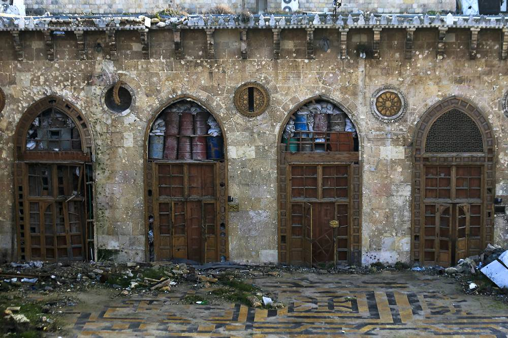 The main entrances of the heavily damaged Great Mosque of Aleppo, in the Old City of Aleppo