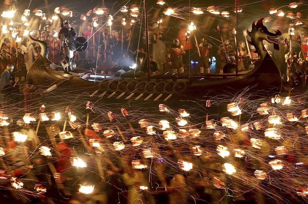 Up Helly Aa Viking festival in Lerwick on the Shetland Isles, Scotland, January 31