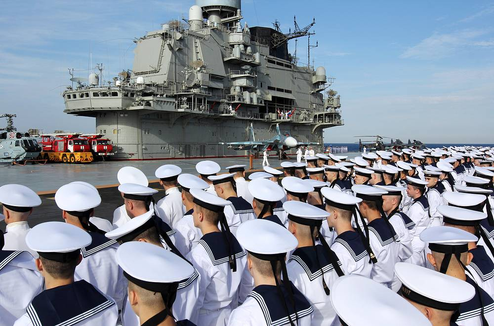 Servicemen on Russia's Admiral Kuznetsov aircraft carrier, November 20, 2016
