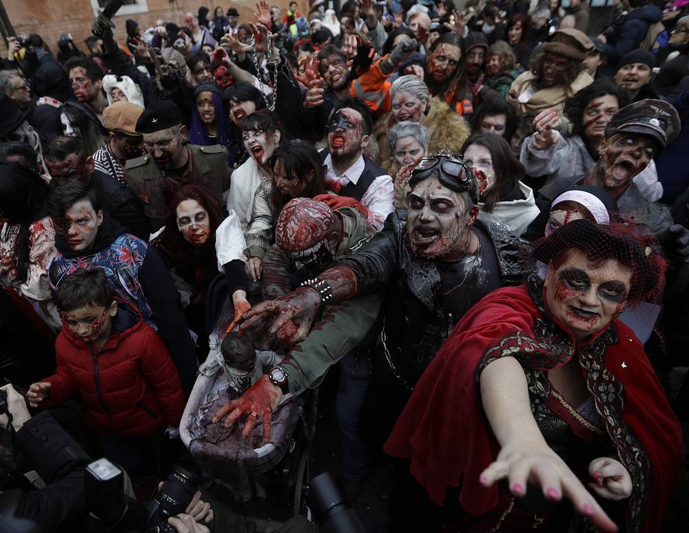 Zombies rally the streets during the Venice Carnival