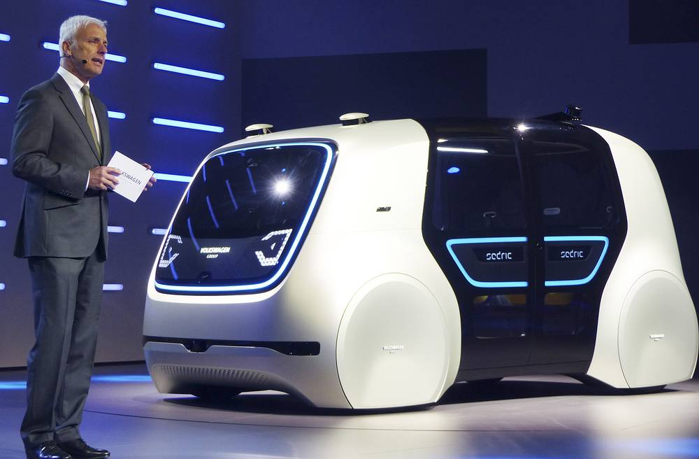 Volkswagen CEO Matthias Mueller presents a Sedric Concept car