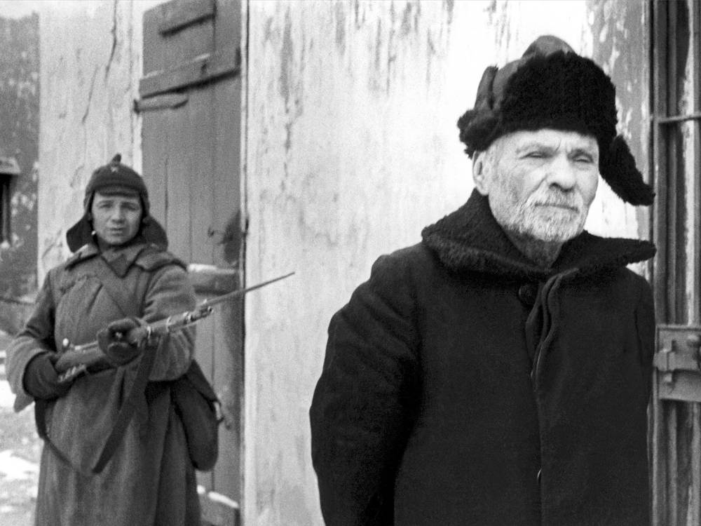 The traitor Tokarev, a Nazi-appointed village elder in Red Army custody awaiting questioning, 1942