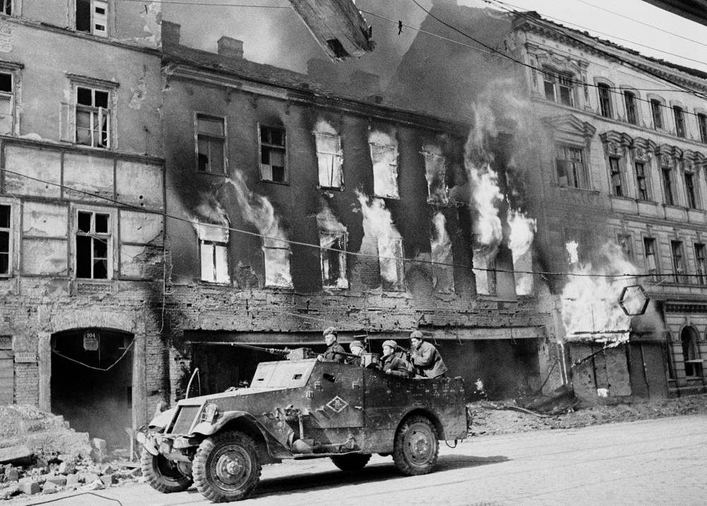 Red Army armored personnel carrier patrolling Vienna, 1945