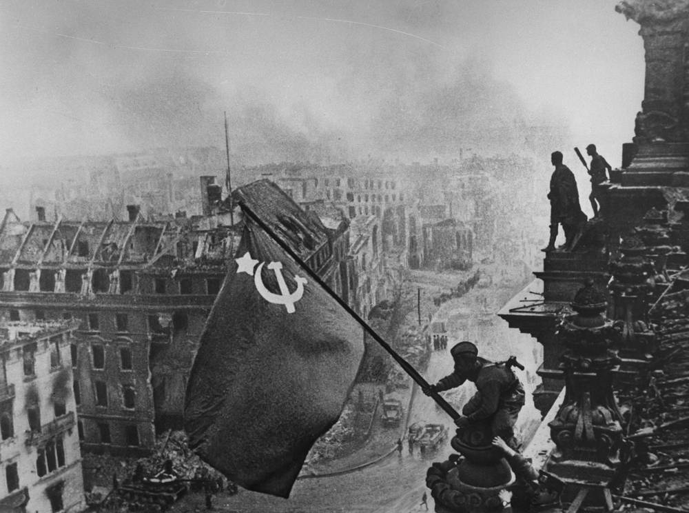 Soviet flag of victory flying over Berlin, 1945