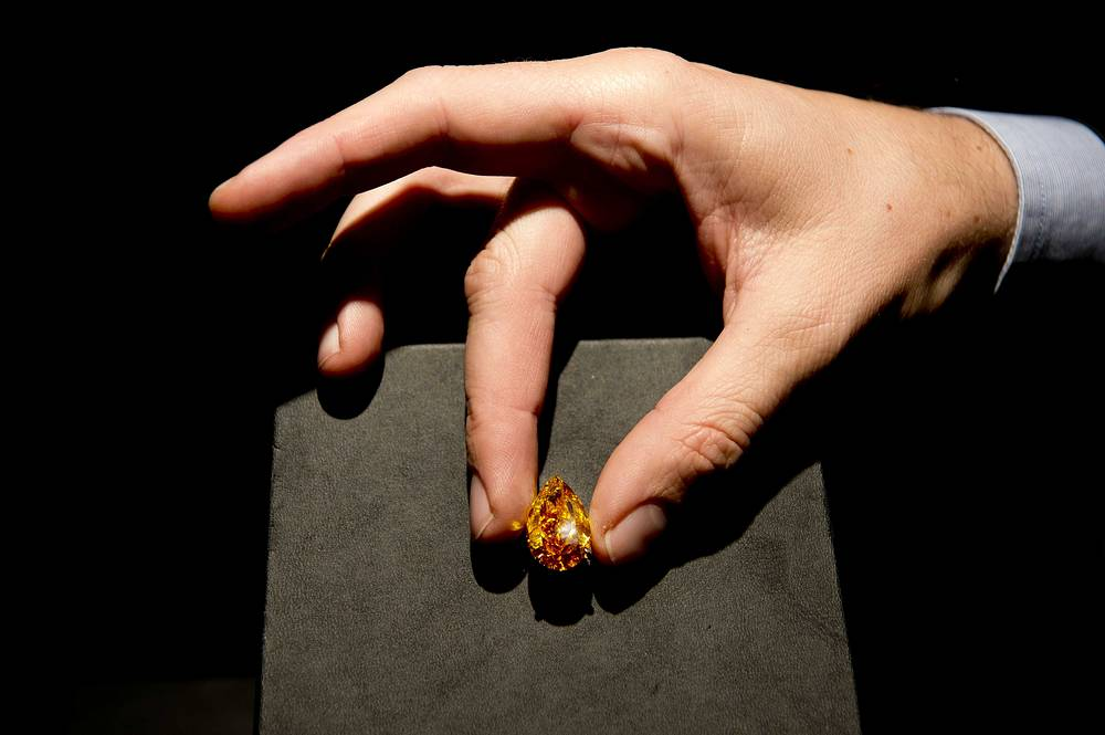 "The largest vivid orange diamond, simply called ""The Orange"" to ever appear at auction was sold for more than $35.5 mln at Christie's in Geneva on November 12, 2013. The information of the 14.83-carat gemstone's origin and buyer were not made public"