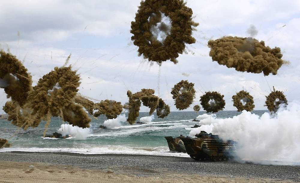 South Korean marines participate in an annual Amphibious Operations (AMPHOPS) during the annual Foal Eagle exercises against a possible attack from North Korea, in Pohang, South Korea, April 2