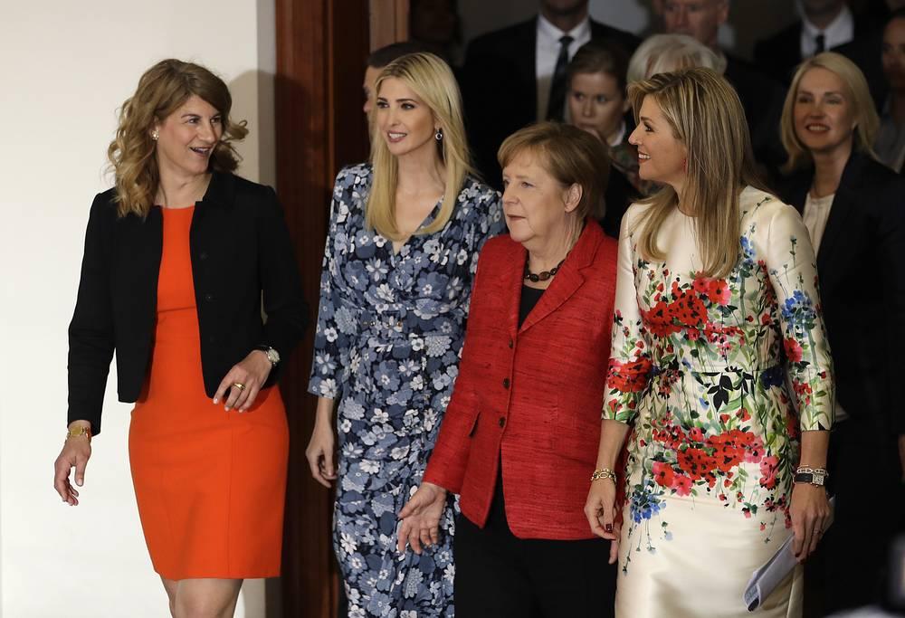 Stephanie Bschorr, President of the Association of German Female Entrepreneurs, Ivanka Trump, daughter and adviser of US President Donald Trump, German Chancellor Angela Merkel and Dutch Queen Maxima
