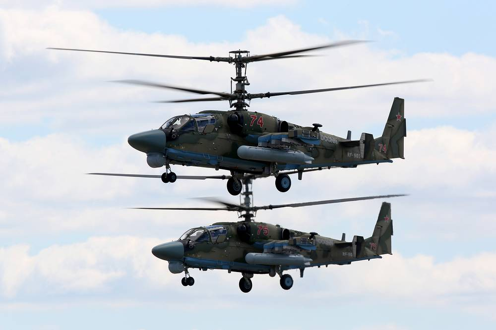 Kamov Ka-52 Alligator strike helicopters