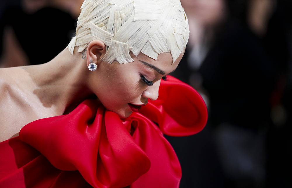 British singer Rita Ora arrives on the red carpet for the Metropolitan Museum of Art Costume Institute's benefit celebrating the opening of the exhibit 'Rei Kawakubo/Comme des Garons: Art of the In-Between' in New York, USA, May 1
