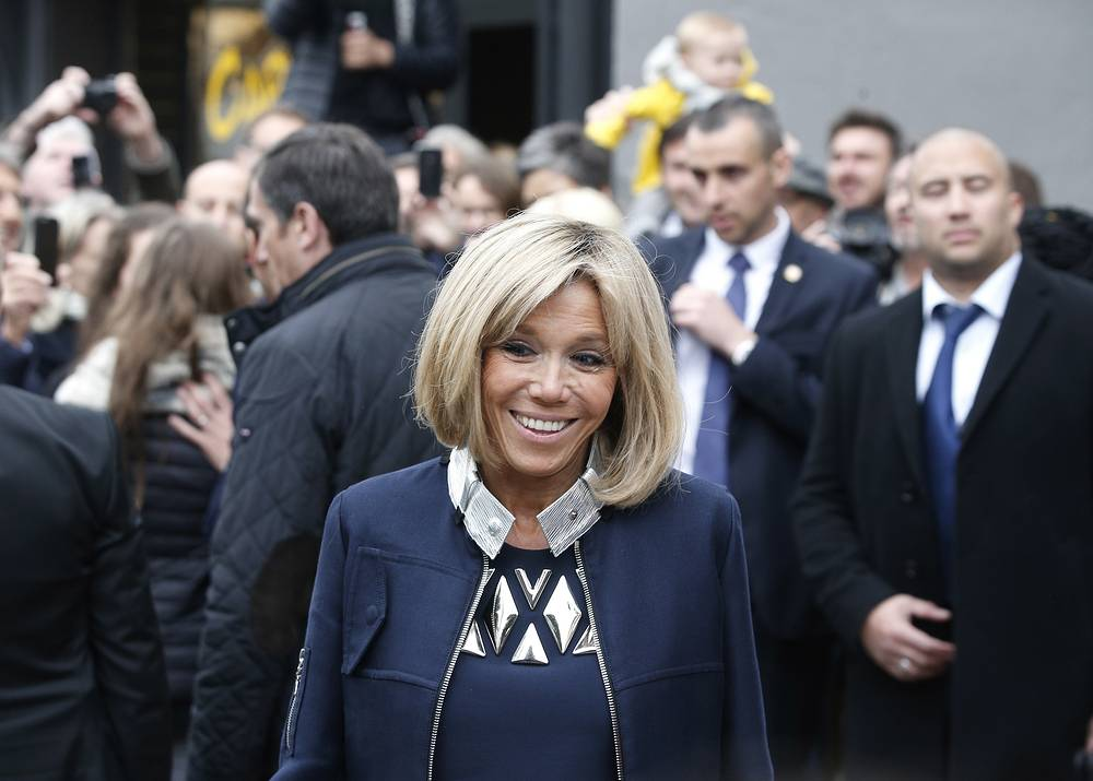 Brigitte Macron smiles after casting her vote in Le Touquet, France, May 7, 2017
