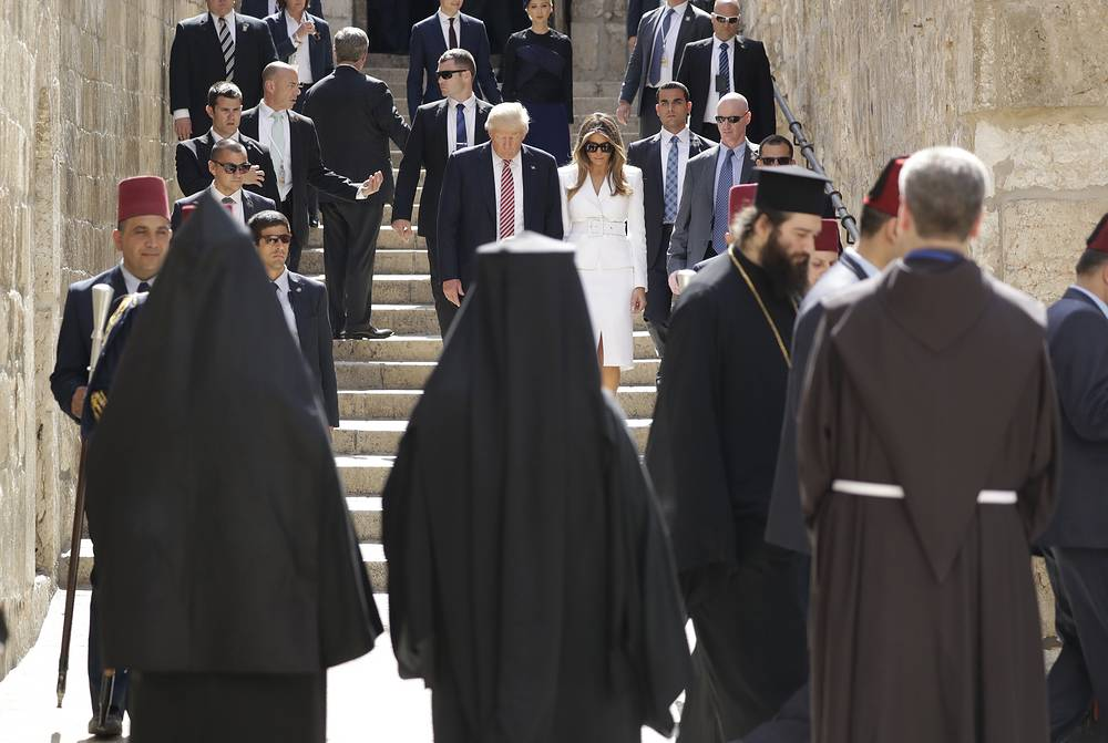 US President Donald Trump and first lady Melania visit the Church of the Holy Sepulchre, in Jerusalem