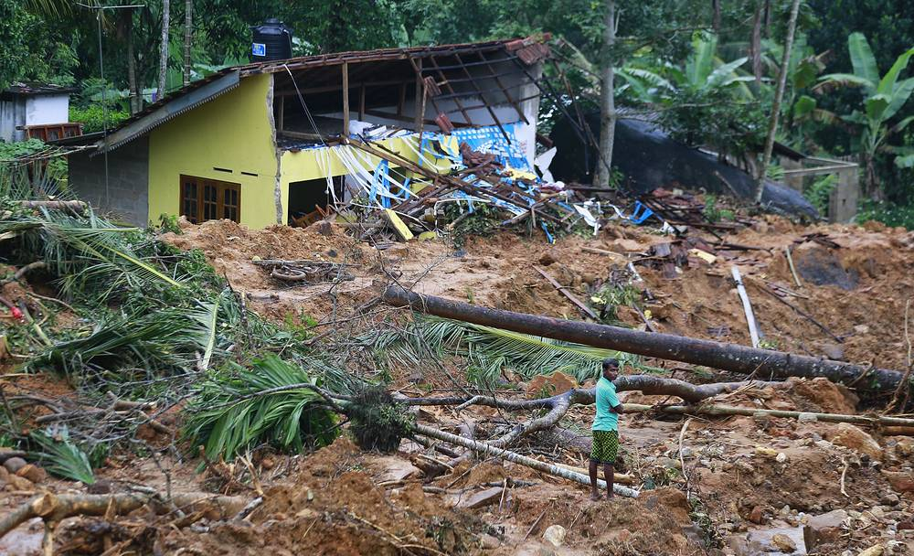 Mud and slush cover the slope at the site of a landslide in Kiribathgala, in Ratnapura district, Sri Lanka, May 29