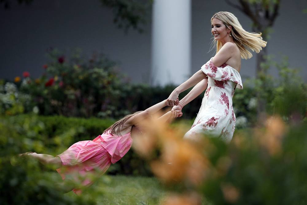 Ivanka Trump swings her daughter Arabella Kushner in the Rose Garden at the Congressional Picnic on the South Lawn of the White House, USA, June 22