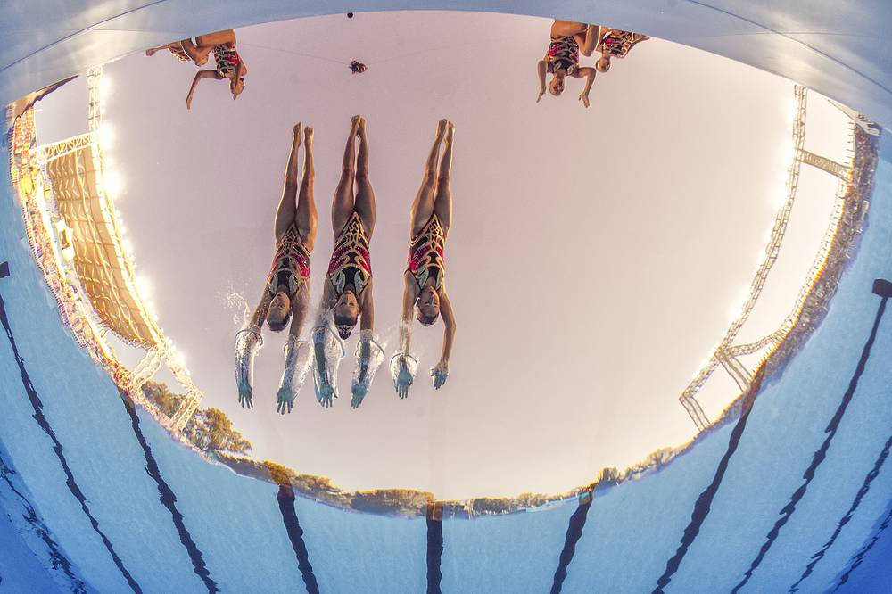 Team Spain performs during the Women's Team Free Synchronized Swimming Preliminary Free Routine
