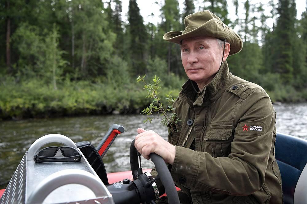 Vladimir Putin on trip to a cascade of mountain lakes
