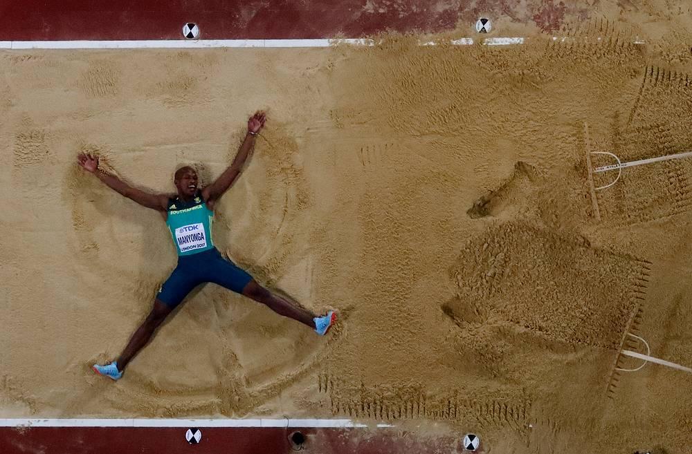 Luvo Manyonga of South Africa celebrates winning gold at Men's Long Jump Final, World Athletics Championships, London, Britain, August 5