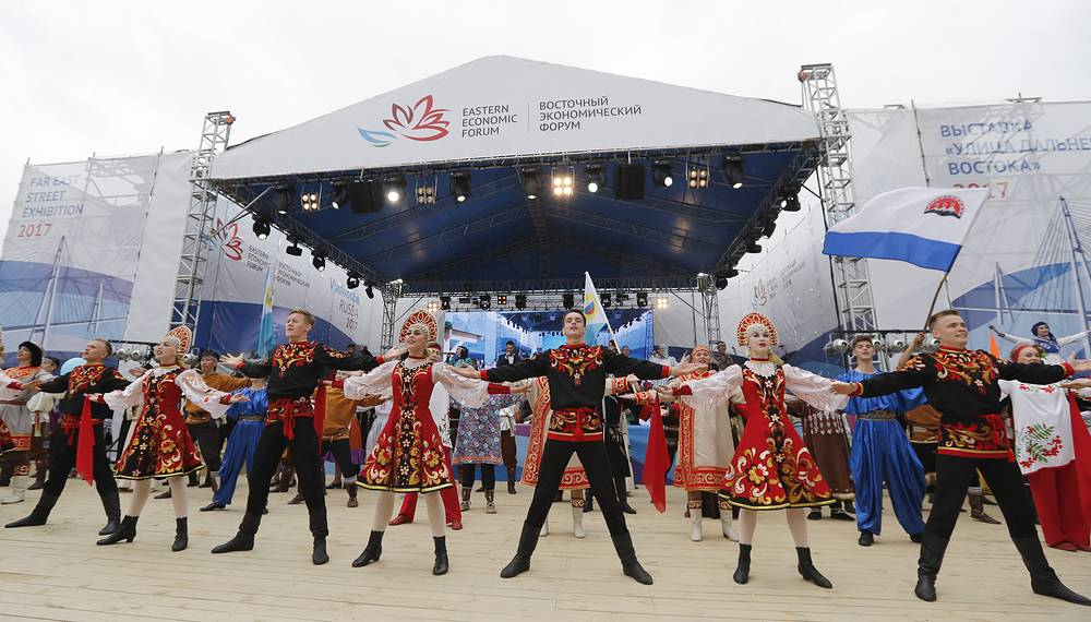 """The opening of an exhibition called """"Far East Street"""", part of the 2017 Eastern Economic Forum (EEF) on Russky Island"""