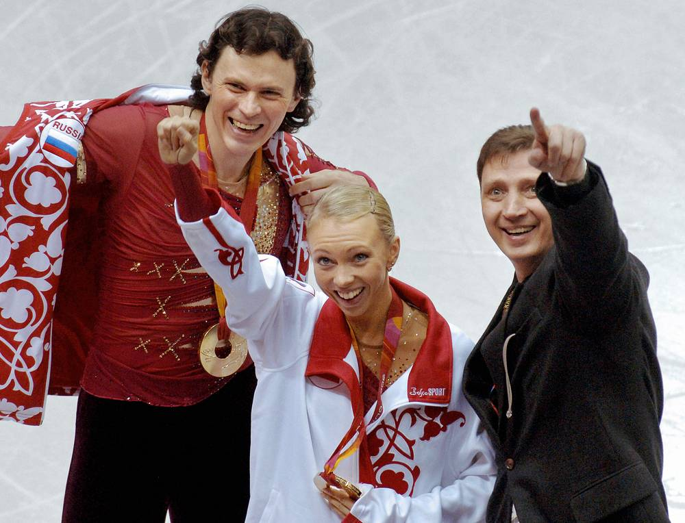 Gold medalists in figure skating Tatiana Totmianina and Maxim Marinin at the 2006 Winter Olympics in Turin, Italy
