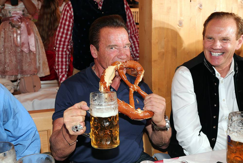 Arnold Schwarzenegger eats a pretzel during the Oktoberfest at Schuetzen Festzelt at Theresienwiese in Munich, Germany, September 26
