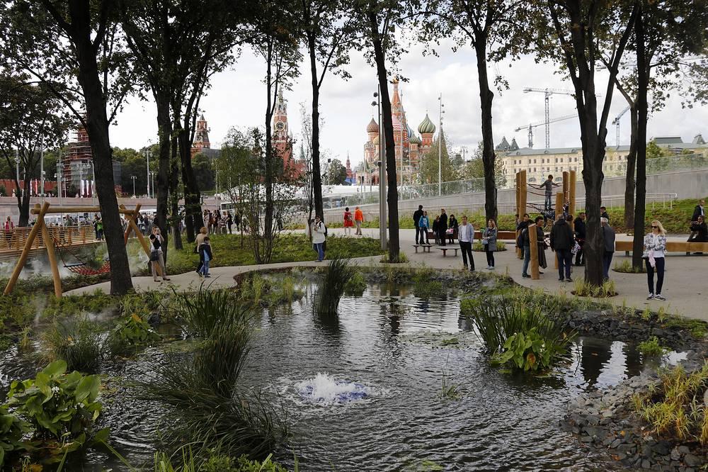 A pond in Zaryadye Park near the Moscow Kremlin