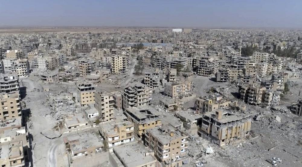 Drone footage shows damaged buildings in Raqqa, Syria, two days after Syrian Democratic Forces said that military operations to oust the Islamic State group have ended and that their fighters have taken full control of the city