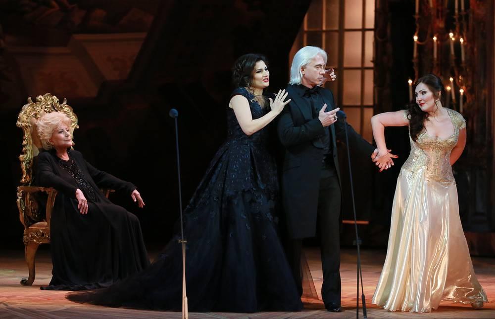 "Russian mezzo-soprano Elena Obraztsova, singers Olga Peretyatko, Dmitri Hvorostovsky and Yekaterina Syurina at a gala concert ""Opera Ball"", 2014"