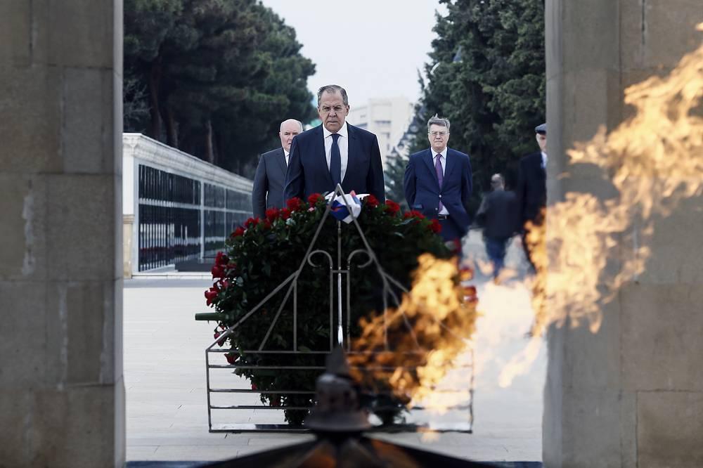 Russia's Foreign Minister Sergei Lavrov and Russia's Ambassador to Azerbaijan Vladimir Dorokhin lay flowers at the Fallen Heroes Memorial, Baku, Azerbaijan, November 20