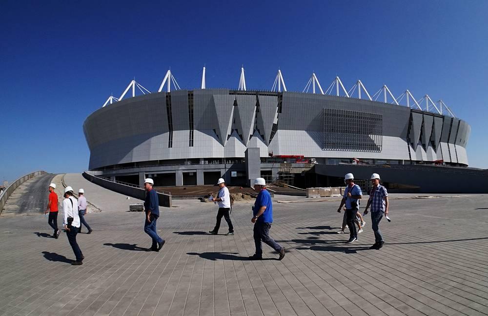 A view of Rostov Arena Stadium under construction