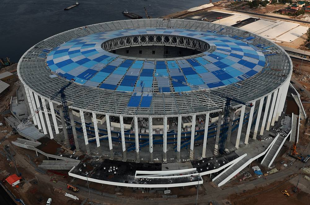 An aerial image of the construction site of Nizhny Novgorod Stadium
