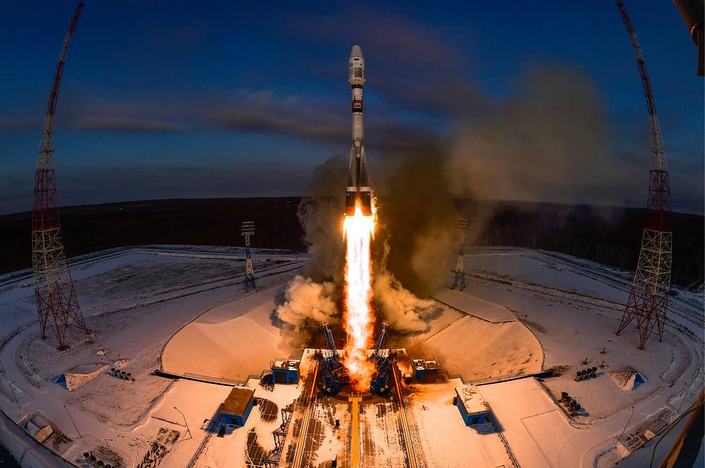 A Soyuz 2.1b rocket booster with a Frigate upper stage block, the Meteor-M 2-1 meteorological satellite and 18 small satellites launched from the Vostochny Cosmodrome, Russia, November 28