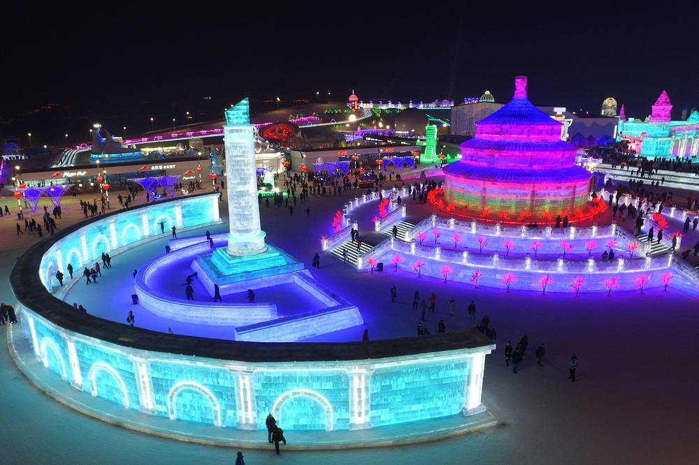 Some 180,000 cubic meters of ice and 150,000 cubic meters of snow were used to build the 800,000 square-meters ice and snow world