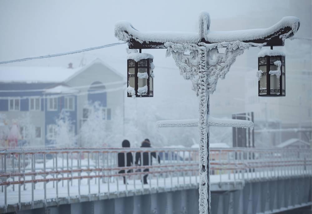 Local residents seen in a city street in Yakutsk
