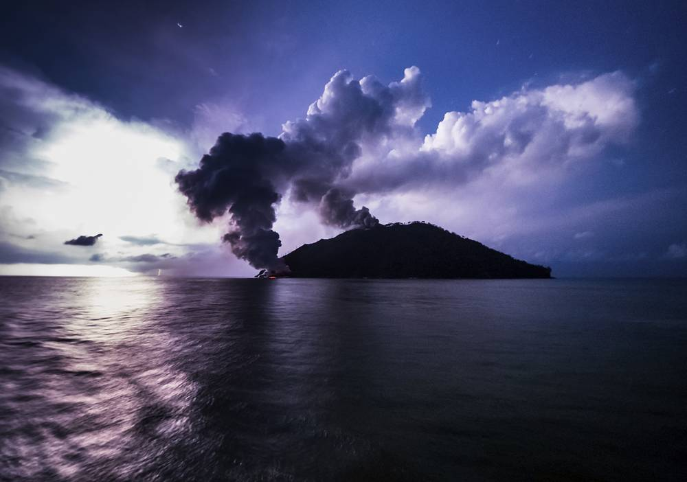 Ash plumes rise from the volcano on Kadovar Island, Papua New Guinea, January 16