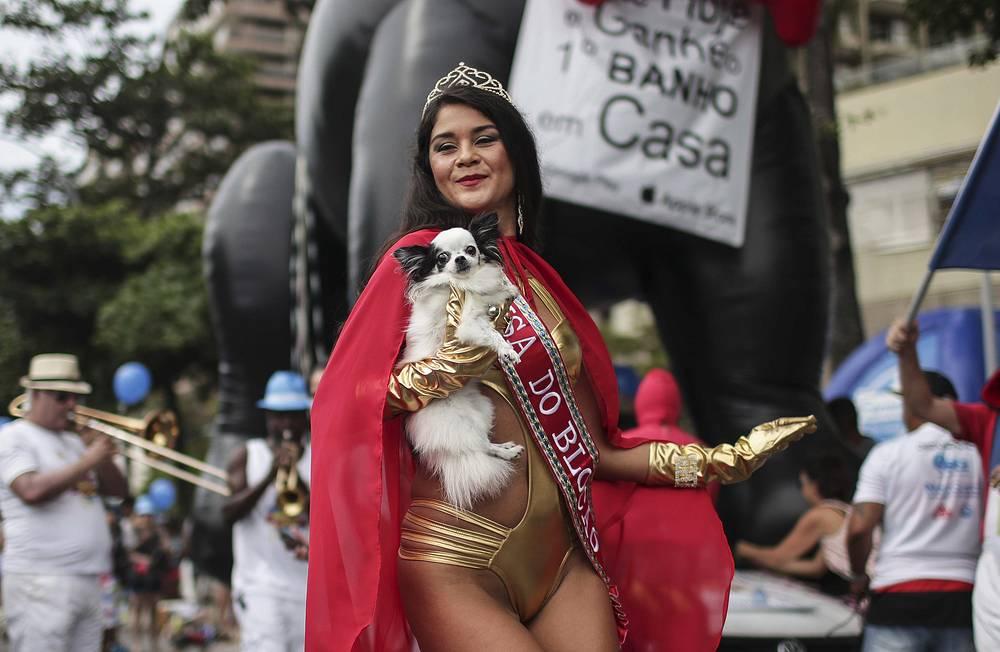 The queen of the Blocao troupe carries a dog during the Carnapet Parade, at the Copacabana beach, Rio de Janeiro