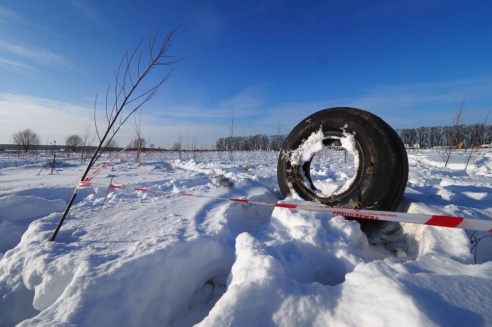 Chassis at the crash site of a Saratov Airlines Antonov An-148 plane, Moscow region, Russia, February 13. The passenger plane with 71 people on board bound for the Ural city of Orsk crashed minutes after taking off from Domodedovo International Airport on February 11, 2018