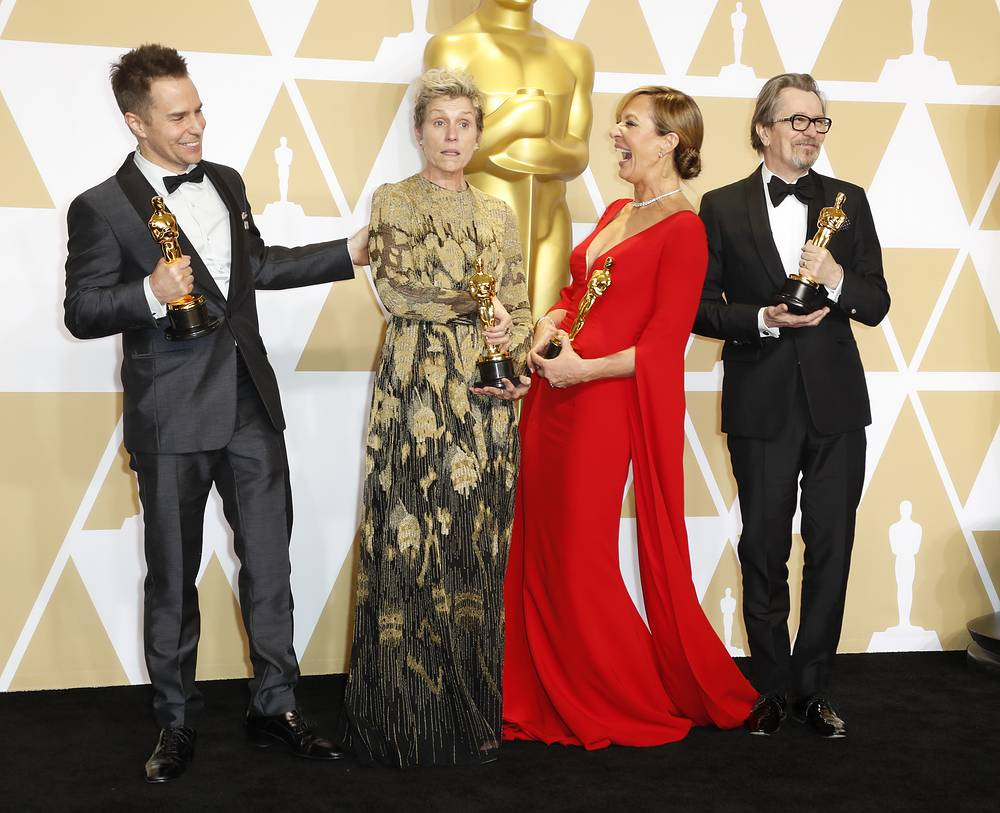 Sam Rockwell, winner of the Best Supporting Actor Award for 'Three Billboards Outside Ebbing Missouri,' Frances McDormand, winner of the Best Actress for 'Three Billboards Outside Ebbing Missouri,' Allison Janney, winner of the Best Actress in a Supporting Role Award for 'I, Tonya', and Gary Oldman, winner of Best Actor for 'Darkest Hour'