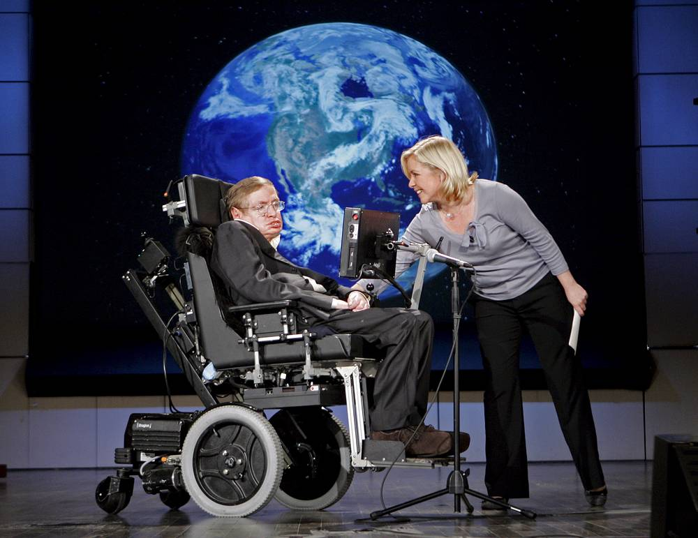 In 1988 Hawking published the book for nonspecialist readers with no prior knowledge of scientific theories, called A Brief History of Time: From the Big Bang to Black Holes. Photo: Professor Stephen Hawking is seen with his daughter Lucy Hawking during a presentation at the The George Washington University in Washington, USA, 2008