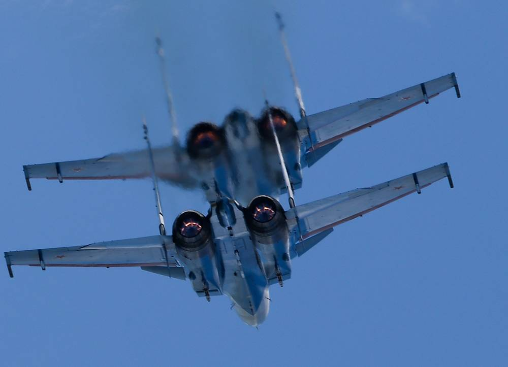Sukhoi Su-30SM fighter jets of the Russian Knights aerobatic team