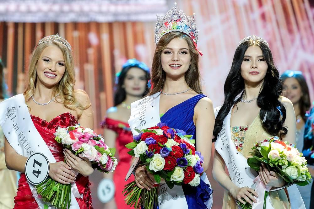 First Vice Miss Russia 2018 Violetta Tyurkina, Miss Russia 2018 Yulia Polyachikhina, and Second Vice Miss Russia 2018 Natalia Stroyeva
