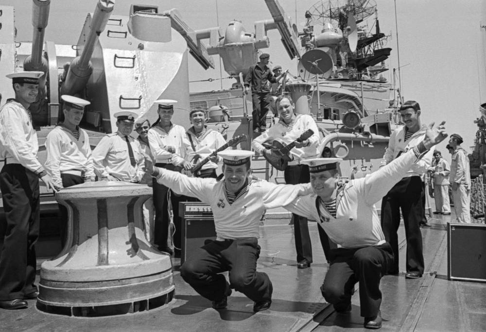 Sailors of one of the ships perform Yablochko dance, 1979